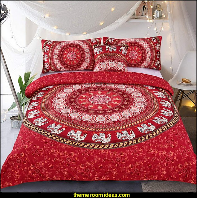Elephant Mandala Bedding   exotic bedroom decorating ideas - exotic global style decorating - exotic decor - exotic style furnishings - tropical theme decorating - Moroccan style  Arabian nights - Egyptian theme decorating - Oriental bedrooms - global bazaar themed  - I dream of Jeannie theme bedrooms - exotic design far east furnishings Exotic bedroom decor‎ - Ethnic style decorating ideas - Ethnic style furnishings - Boho style