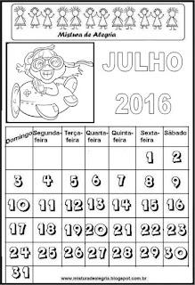 Calendário de julho 2016 para colorir