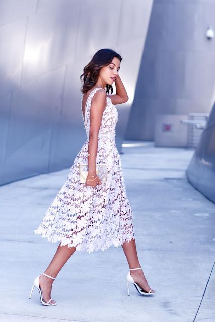 Viva Luxury Self-Portrait White Floral Lace Dress