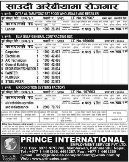 Free Visa & Free Ticket, Jobs For Nepali In Saudi Arabia, Salary -Rs.70,775/