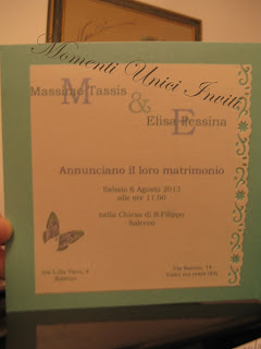 tif+but2 Partecipazione card in cartoncino perlescente con farfalla intagliataColore Tiffany