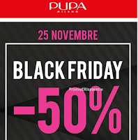 Logo Black Friday Pupa: - 50% su tutto l'assortimento