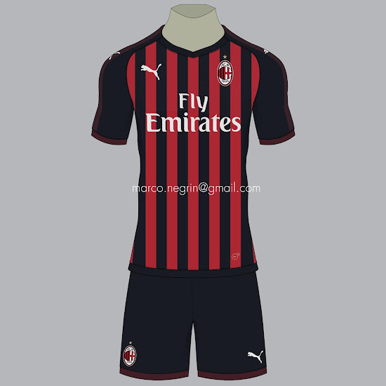 24b86b29cda6 Puma AC Milan 18-19 Home, Away & Third Concept Kits by Marco Negrin ...