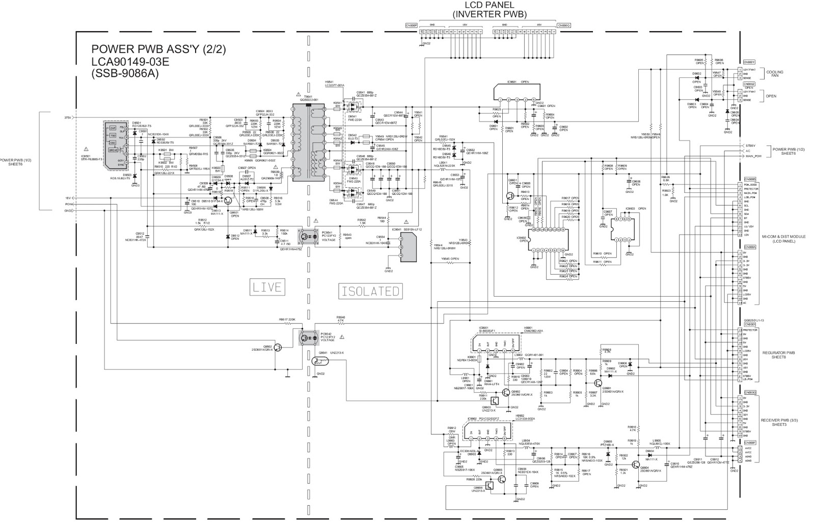 jvc lt-26wx84 - lcd tv - main power supply schematic ... led tv schematic circuit diagram
