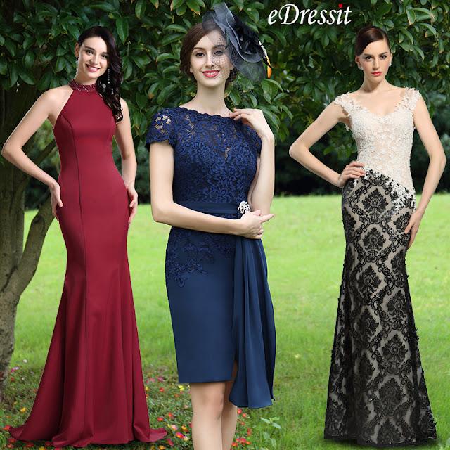 eDressit Elegant Blue Lace Mother of the Bride Dress
