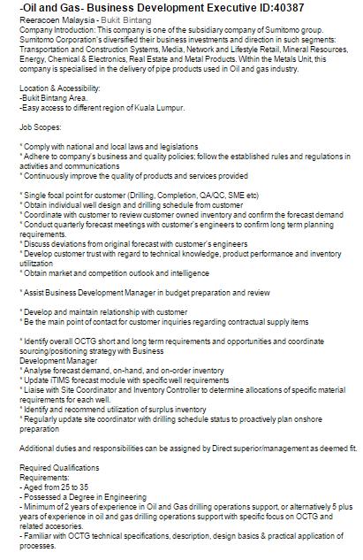 Oil &Gas Vacancies: Business Development Executive -Reeracoen- Malaysia