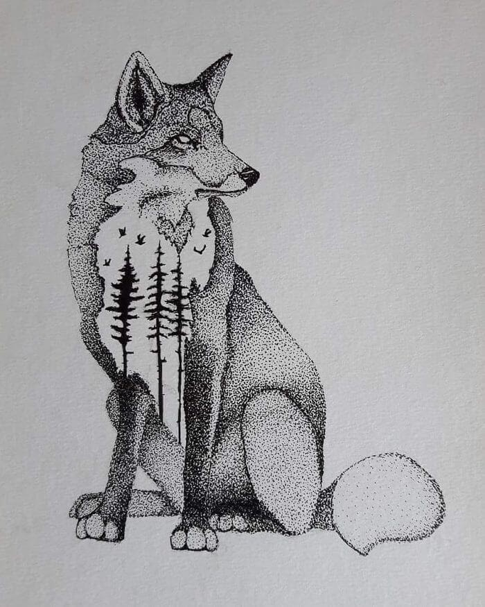 01-The-Fox-mARTin-Black-and-White-Stippling-Animal-Drawings-www-designstack-co