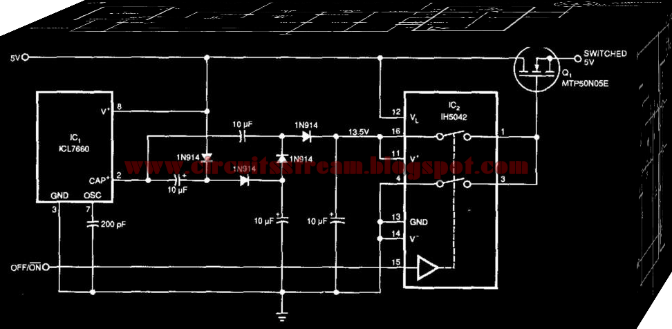 Simple 5V Supply High-Side Switcher Circuit Diagram