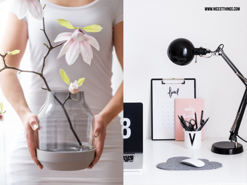 Muuto Elevated Vase grau mit Magnolien