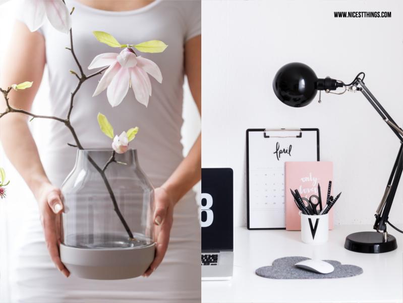 Muuto Elevated Vase grau mit Magnolien