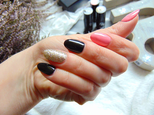 Manicure hybrydowy lakierami Vasco Nails - 041 MANGO DELIGHT, 065 DEEP BLACK, 072 ROYAL BIANCO