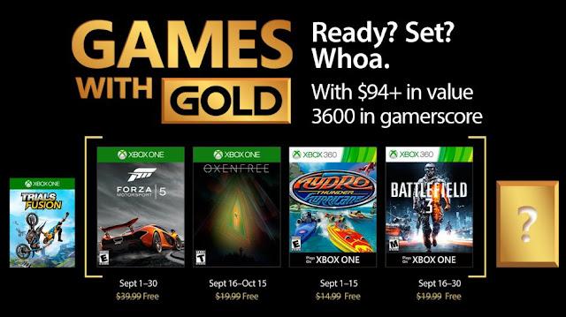 Descubre los títulos Xbox Gold de septiembre, ¡Forza!