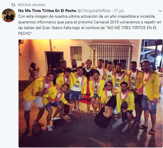 """Nombre de la chirigota de Rota (Cádiz) de José Caballero Molina e Iván Herrera Lobato """"No me tires Tiritos en el Pecho"""" para el COAC 2019."""