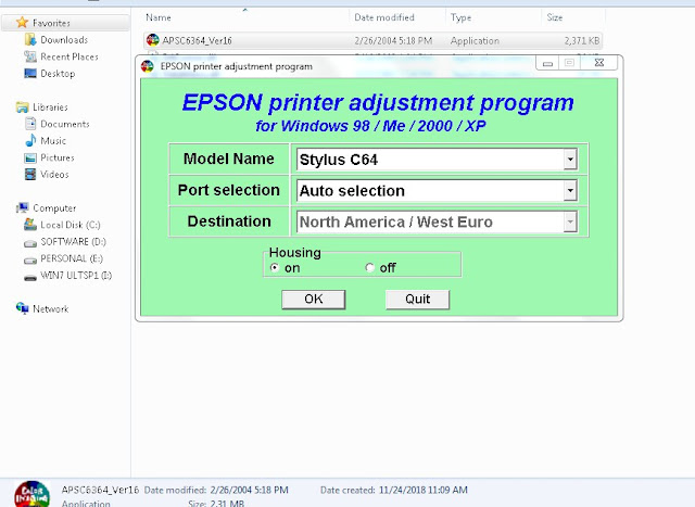 Resetter Epson Stylus C64