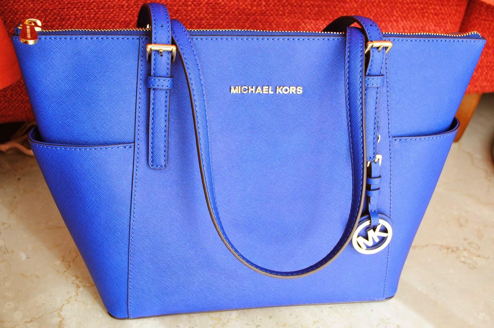 Michael Kors Jet Set Top-Zip saffiano tote blu sapphire  e9251fd75de