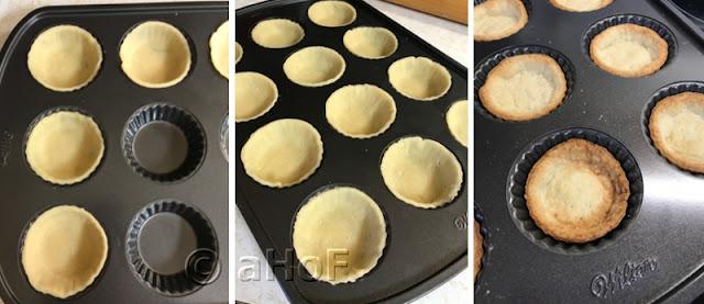 Line tart wells - prick dough all over - blind bake shells