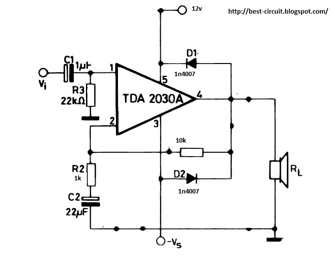 electronic circuit  how to make tda2030a amplifier