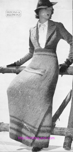 The Vintage Pattern Files: Free 1930's Knitting Pattern - Grampian Rug Skirt