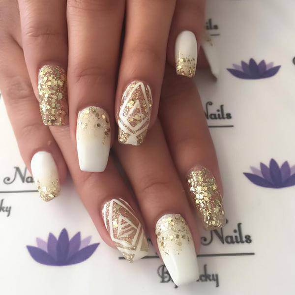 White Coffin French Tip Nails