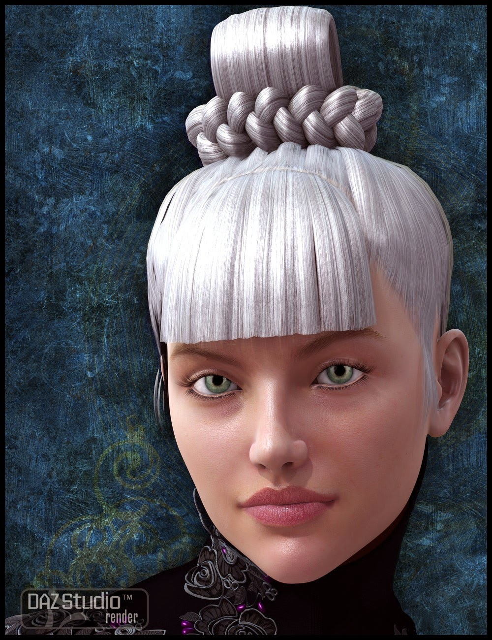 top knot hair styles daz studio 3 for free daz 3d ying hua hair 4096 | 1