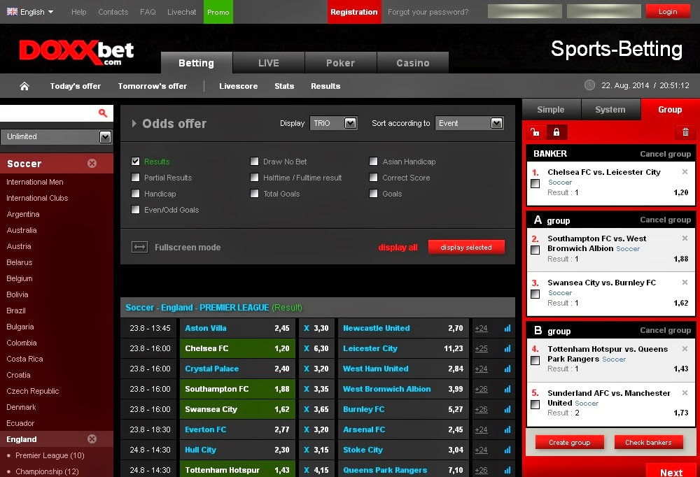 Doxxbet Sportsbook Screen
