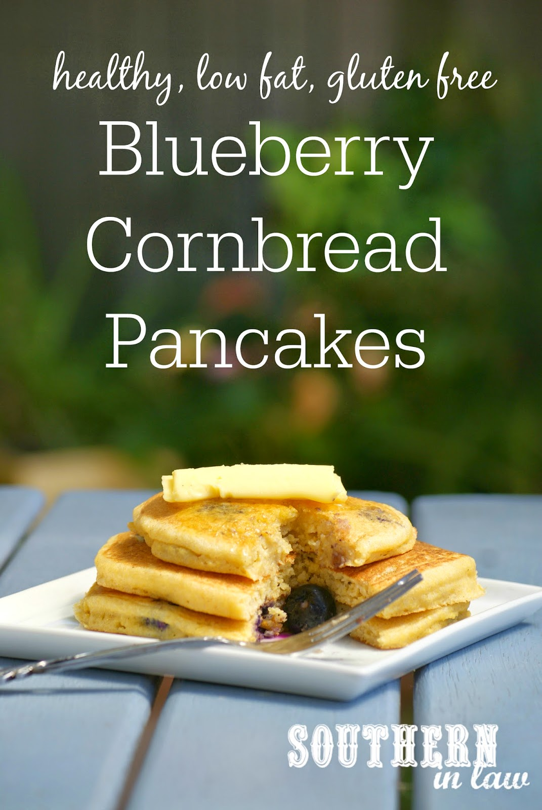 Gluten Free Blueberry Cornbread Pancakes Recipe | gluten free, low fat, healthy, low sugar, clean eating friendly