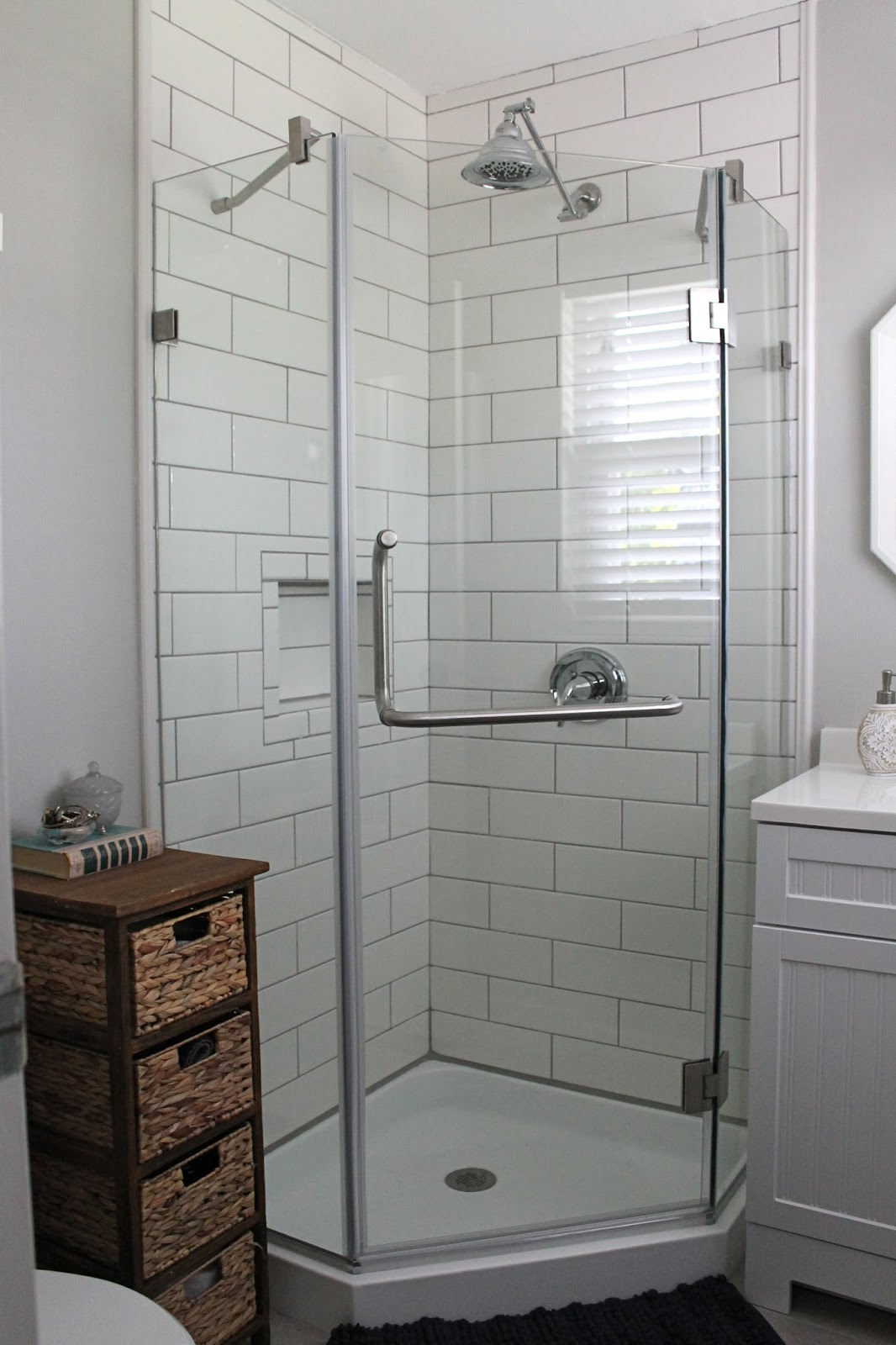 Cute The shower was the most expensive part of the bathroom remodel Most of the other pieces we were able to get on clearance Here is a rough estimate of our