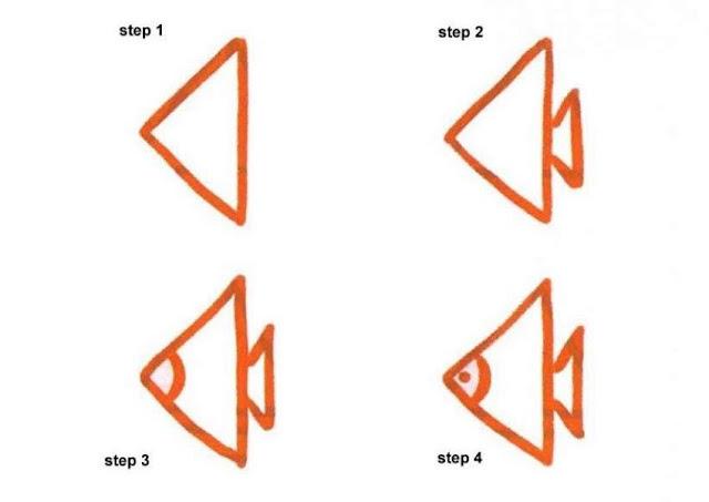Cara Mudah Menggambar Ikan  Untuk Anak-Anak  1