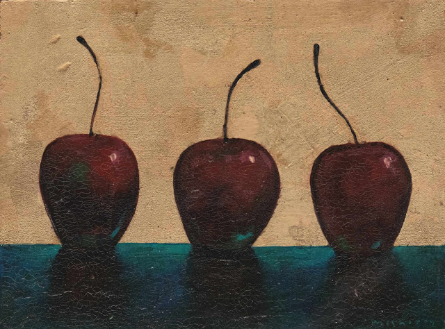 """171102_36 Three Cherries II. Daily painting still life in gilded acrylics on panel. 7"""" x 10"""""""
