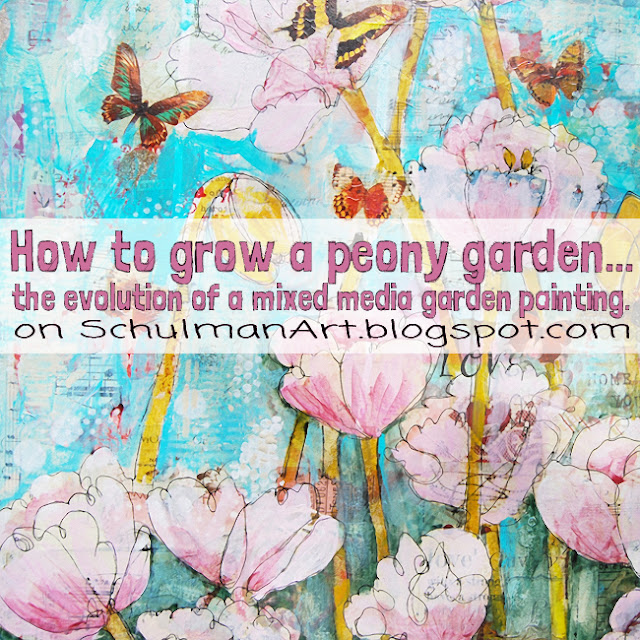 mixed media flower art | floral art | pink peony painting http://schulmanart.blogspot.com/2016/04/how-to-grow-peony-garden-painting.html
