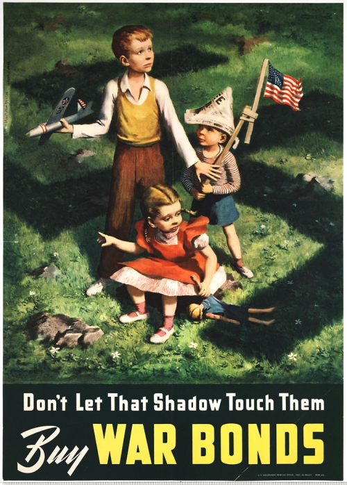 Three children with toys and a flag, on a lawn scattered with small white flowers, are surrounded by the shadow of a swastika