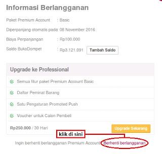 Dashboar Account Premium Bukalapak