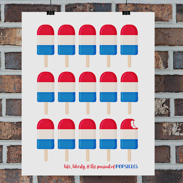 Fourth of July Free Printable | This red, white, and blue popsicle pop art is perfect for your summertime decor. Available in TWO sizes: 8x10 or 11x14 inches.