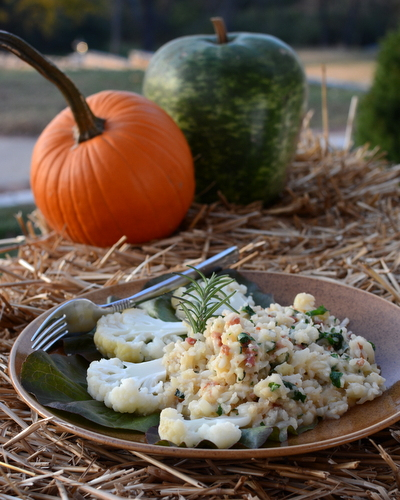 Cauliflower Risotto ♥ KitchenParade.com, traditional risotto lightened up with creamy cauliflower. Rave reviews!