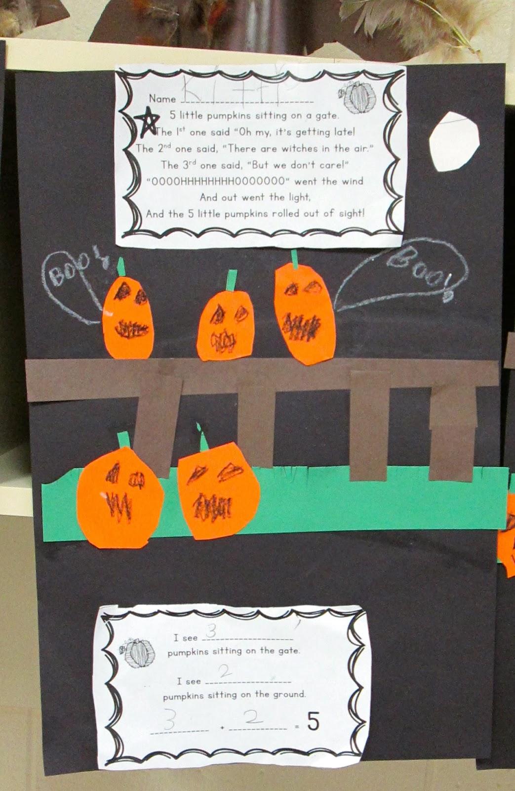 Five Little Pumpkins Sitting On A Gate Math Craft For