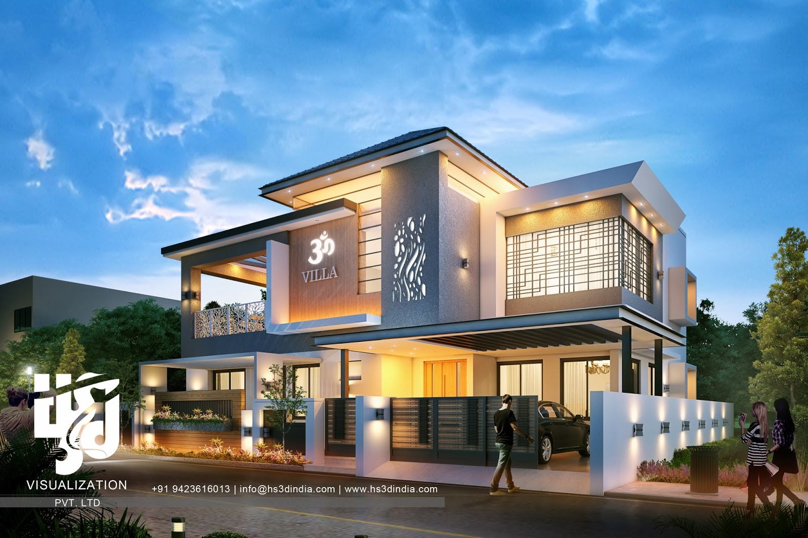 3d Flat Roof Design Mall Exterior Elevation Night Rendering Architectural Modern Indian Architecture Google Search Bungalows