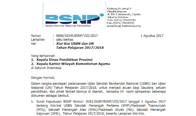 Surat Edaran BSNP No. 0080/SDAR/BSNP/VIII/2017 Tentang Kisi-Kisi USBN dan UN TP. 2017/2018