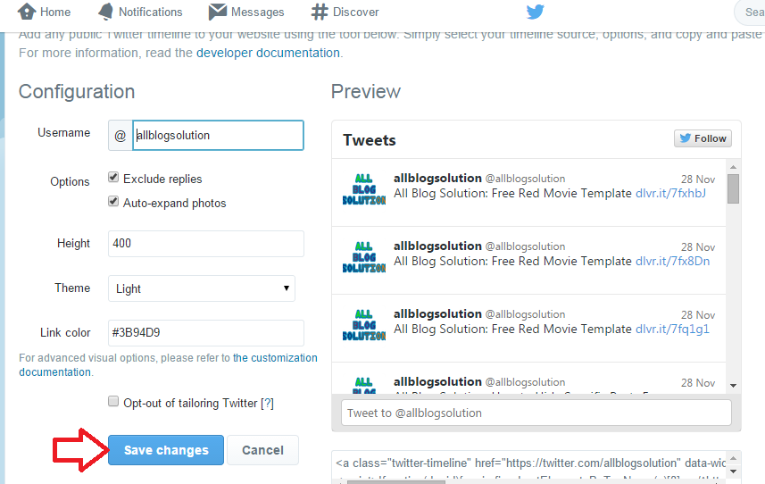 Create New Twitter Widget