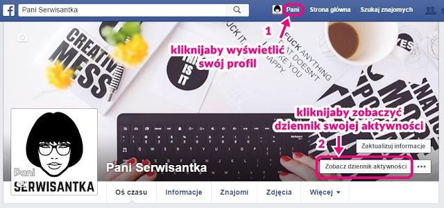 gdzie znaleźć dziennik aktywności facebook