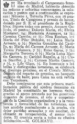 Artículo de Manuel Golmayo sobre el Torneo Femenino de Ajedrez Madrid 1934