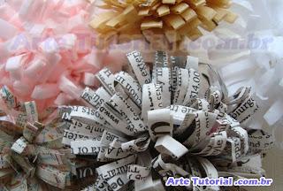 Flor de papel reciclado para decorar presente – Passo a Passo