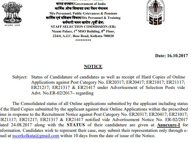 Candidature of candidates for category  ER20317, ER20417, ER21017, ER21117