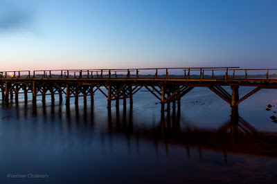 Copyright Vernon Chalmers: The Wooden Bridge After Sunset - Woodbridge Island, Cape Town