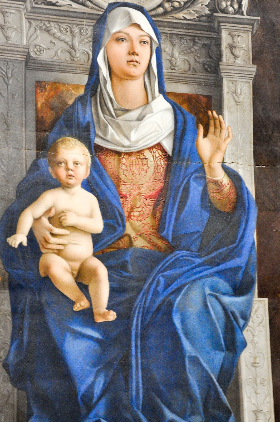 Madonna with child, close-up of a painting by Giovanni Bellini, Gallerie dell'Accademia in Venice