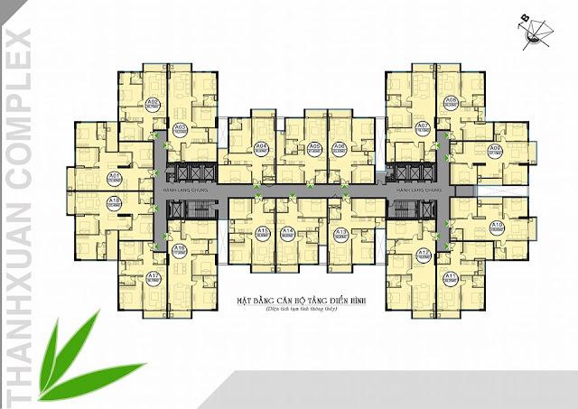 Mặt bằng tầng căn hộ điển hình Thanh Xuân Complex