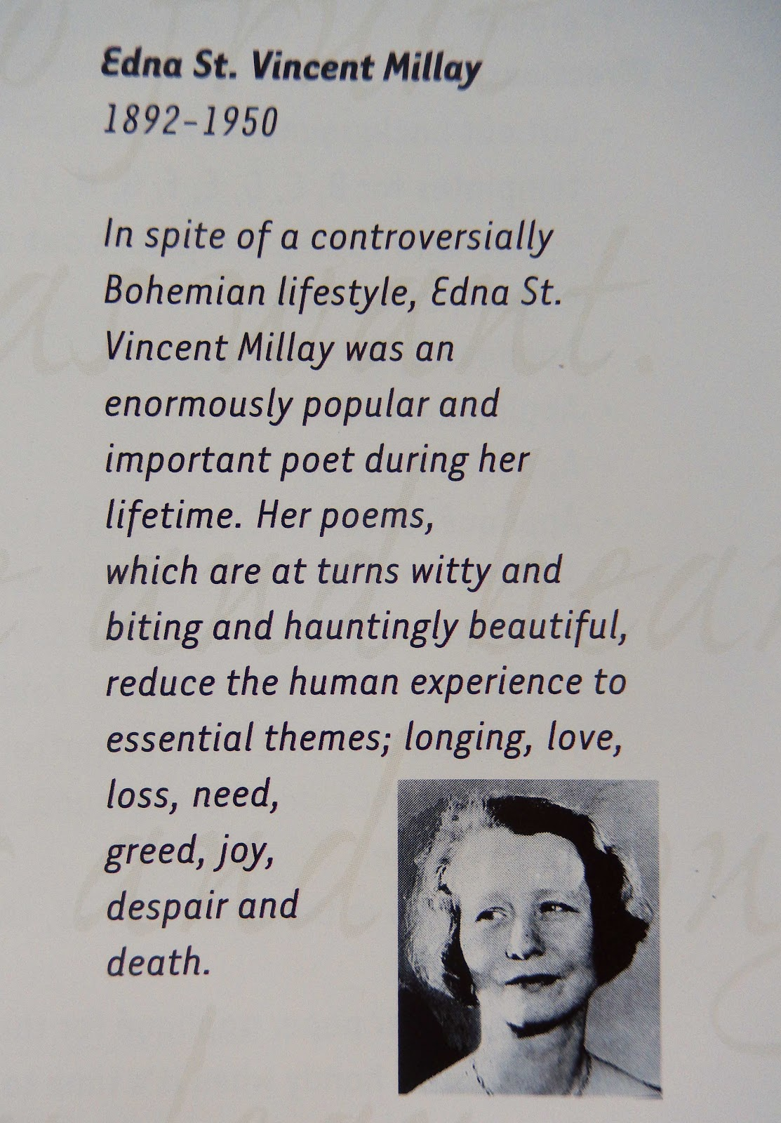 poetry and theme of travel by edna stvincent millay Edna st vincent millay (1892-1950) was an american poet and playwright born in rockland, maine, her mother taught her to write poetry when she was four years old.