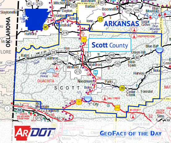 Locator map of Blue Ball and Y City, Arkansas