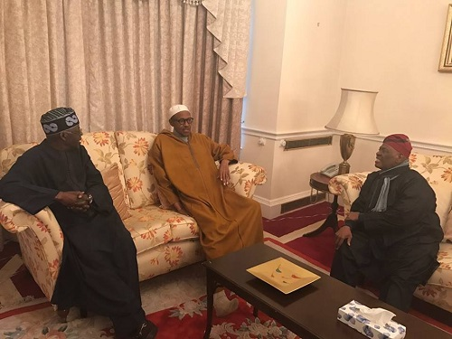 Tinubu, Bisi Akande Visits Buhari In UK; See Photos