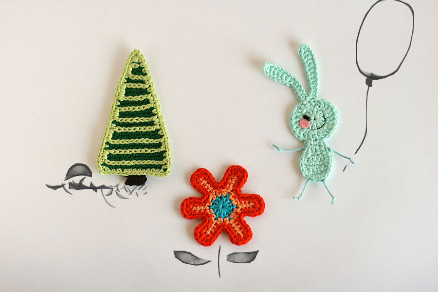 Handmade crochet woodland appliques - bunny set, diy crochet pattern
