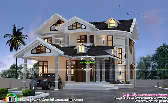 Stylish 4 bedroom 2750 square feet sloping roof Kerala home plan